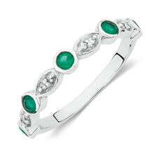 Ring with Created Emerald and Diamonds in 10ct White Gold