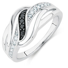 Online Exclusive - Ring with 0.20 Carat TW of White &  Enhanced Black Diamonds in Sterling Silver