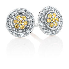 Stud Earrings with 1/4 Carat TW of Yellow & White Diamonds in 10kt White Gold