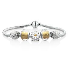 "19cm (7.5"") Flourish Starter Bracelet with 5 Charms in Sterling Silver, Enamel & Glass"