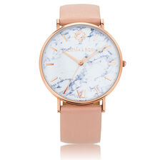 Rose Tone Stainless Steel Watch with Blush Leather