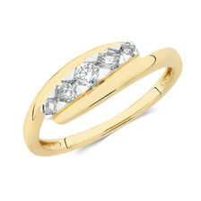 Bypass Ring with 1/4 Carat TW of Diamonds in 10ct Yellow Gold