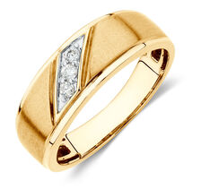 Men's Three Stone Ring with Diamonds in 10kt Yellow Gold