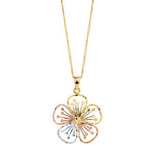 Flower Pendant in 10kt Yellow, White & Rose Gold