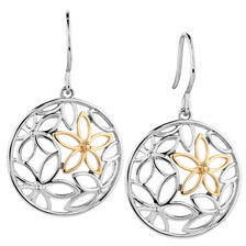 Online Exclusive - Flower Drop Earrings in 10kt Yellow Gold & Sterling Silver
