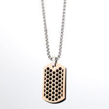 Online Exclusive - Men's Patterned Tag in Rose & Black Tone Stainless Steel