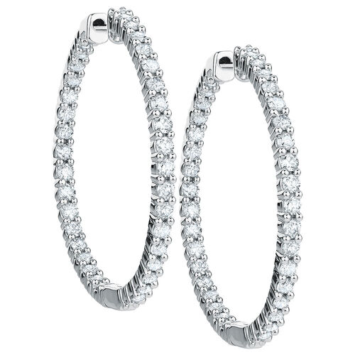 Hoop Earrings with 1 Carat TW of Diamonds in 18kt White Gold
