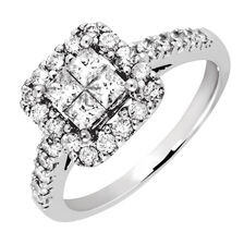 Engagement Ring with 1.02 Carat TW of Diamonds in 14ct White Gold