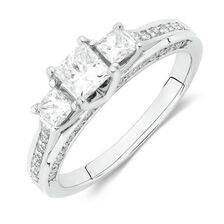 Three Stone Ring with 1 Carat TW of Diamonds in 18kt White Gold