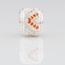 Pattern Charm with Orange & White Cubic Zirconia in Sterling Silver
