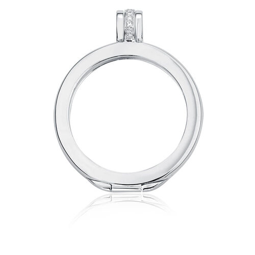 Cubic Zirconia & Sterling Silver Coin Pendant Frame