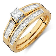 Bridal Set with 1 Carat TW of Diamonds in 18ct Yellow & White Gold