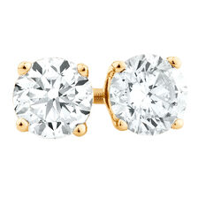 Stud Earrings with 1 TW of Diamonds in 18ct Yellow Gold
