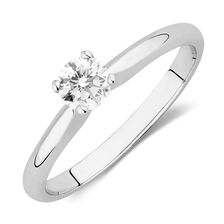 Online Exclusive - Solitaire Engagement Ring with a 1/3 Carat Diamond in 18ct White Gold