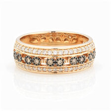 ONLINE EXCLUSIVE - Multistone Ring with 0.43 Carat Total Weight of White & Enhanced Brown Diamonds in 10ct Yellow Gold