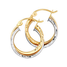 Online Exclusive - Crossover Hoop Earrings in 14kt Yellow & White Gold