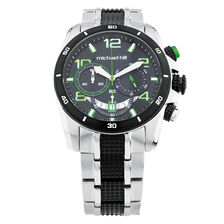 Men's Chronograph Watch in Green, Black & Silver Stainless Steel