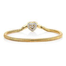 "Diamond Set 10ct Yellow Gold 17cm (7"") Charm Bracelet"