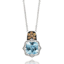 Le Vian Aquamarine & 1/5 Carat TW Chocolate & Vanilla Diamond Pendant in 14kt White Gold