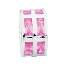 Pink Cubic Zirconia & Sterling Silver Hexagonal Charm