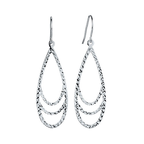 Teardrop Drop Earrings in 10ct White Gold