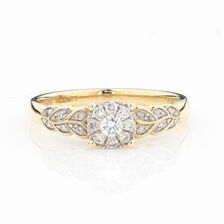 ONLINE EXCLUSIVE - Cluster Ring with 1/4 Carat Total Weight of Diamonds in 10kt Yellow & White Gold