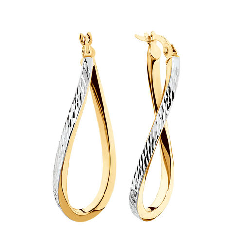 Twist Hoop Earrings in 10kt Yellow & White Gold