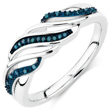 City Lights Ring with 1/20 Carat TW of Enhanced Blue Diamonds in Sterling Silver