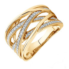 Crossover Ring with 1/4 Carat TW of Diamonds in 10kt Yellow Gold