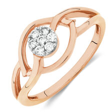Promise Ring with Diamonds in 10ct Rose Gold