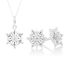 Snowflake Pendant & Earrings Boxed Set with Cubic Zirconia in Sterling Silver