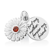 Engraved Daisy Dangle Charm with Red Cubic Zirconia in Sterling Silver