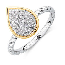 Teardrop Stacker Ring with 1/4 Carat TW of Diamonds in Sterling Silver & 10kt Yellow Gold