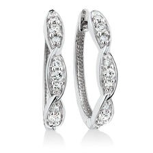 Twist Huggie Earrings with 1/4 Carat TW of Diamonds in 10kt White Gold