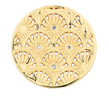 Diamond Set Art Deco Coin Pendant Insert in 10ct Yellow Gold