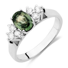 Ring with Green Sapphire & 1/4 Carat TW of Diamonds in 10kt White Gold