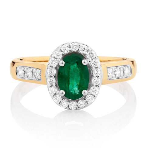 ring with emerald 1 4 carat tw of diamonds in 10kt