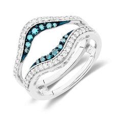 Enhancer Ring with 1/2 Carat TW of White & Enhanced Blue Diamonds in 14kt White Gold