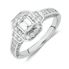 Halo Ring with 1 Carat TW of Diamonds in 18kt White Gold