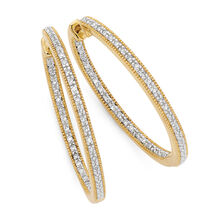Hoop Earrings with 0.26 Carat TW of Diamonds in 10ct Yellow Gold