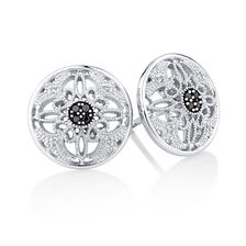 Online Exclusive - City Lights Stud Earrings with Enhanced Black Diamonds in Sterling Silver