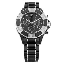 Unisex Chronograph Watch with 3/4 Carat TW of Diamonds in Black Ceramic & Stainless Steel