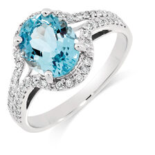 Ring with Aquamarine & 1/4 Carat TW of Diamonds in 10ct White Gold