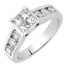 Engagement Ring with 1.20 Carat TW of Diamonds in 14ct White Gold