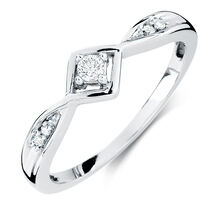 Promise Ring with Diamonds in 10kt White Gold
