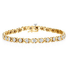 Tennis Bracelet with 1 Carat TW of Diamonds in 10ct Yellow Gold