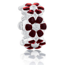 Flower Spacer with Maroon Enamel in Sterling Silver