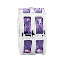 Purple Cubic Zirconia & Sterling Silver Hexagonal Charm