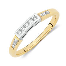 Wedding Band with 1/3 Carat TW of Princess Cut Diamonds in 18kt Yellow & White Gold