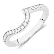 Wedding Band with 1/5 TW of Diamonds in 14ct White Gold